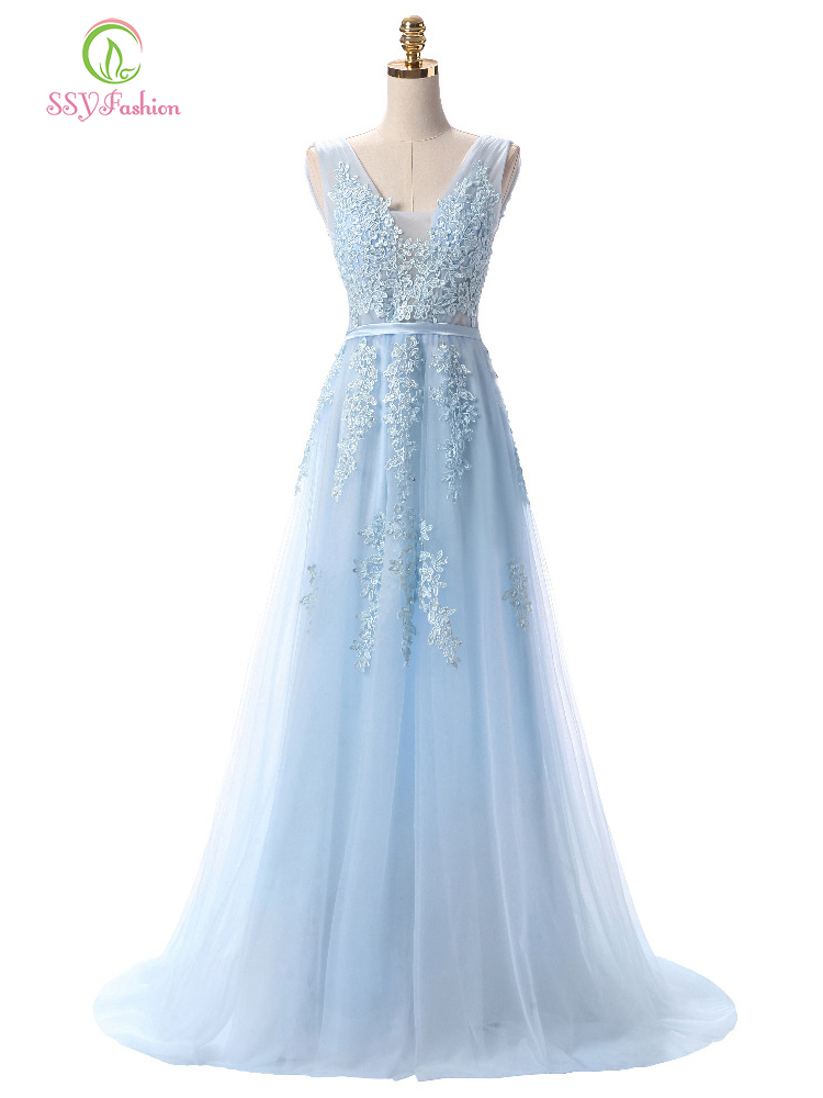 Ssyfashion Prom-Dresses Light Evening-Dress Backless Bride Party Blue Long Lace Custom