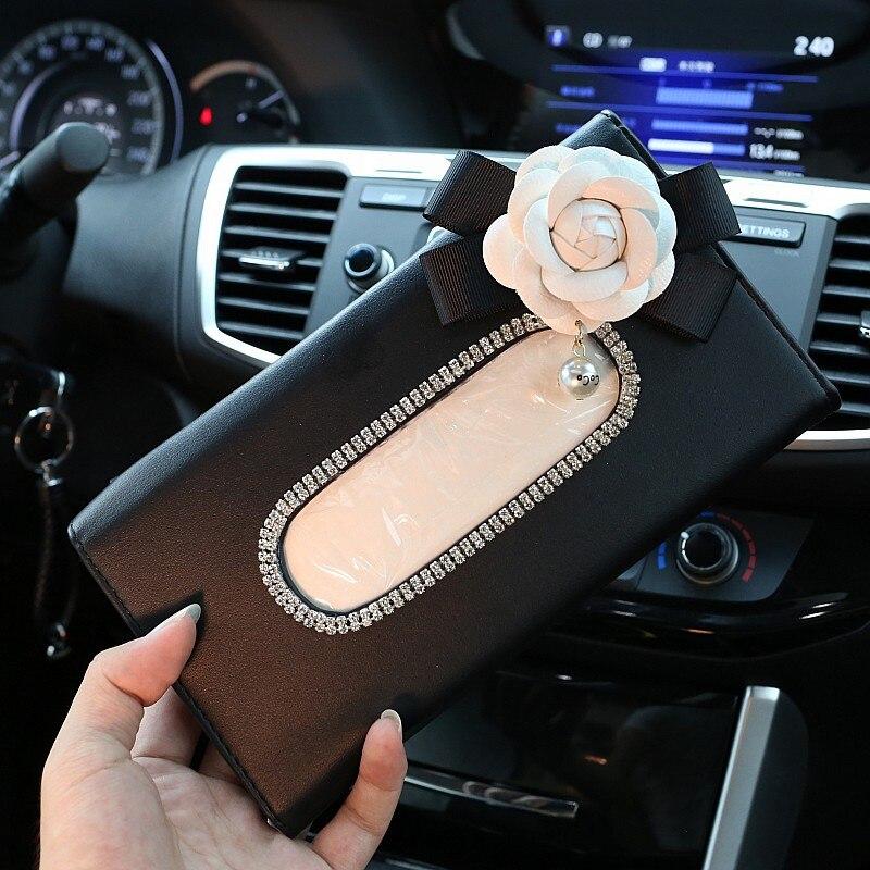 Sevimli Çiçek Kristal Doku Kutusu Kağıt Tutucu için Araba - Araç Içi Aksesuarları - Fotoğraf 2
