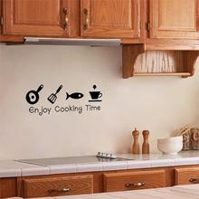 Romantic Enjoy Cooking Time Wall Sticker Fashion Cartoon Decor Newest Stickers for Kitchen