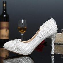 2016 weiße Perle 4 Zoll Stiletto Brautkleid Schuhe formales Kleid High Heels Spitz Hochzeitsbankett Partei Prom schuhe
