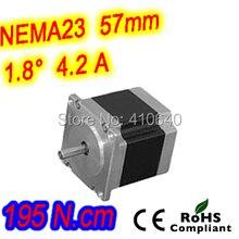 С высоким крутящим моментом шаг двигатель 23HS45-4208S L 115 мм Nema 23 с 1,8 град 4,2 A 195 n. См и биполярное 8 стержень провода
