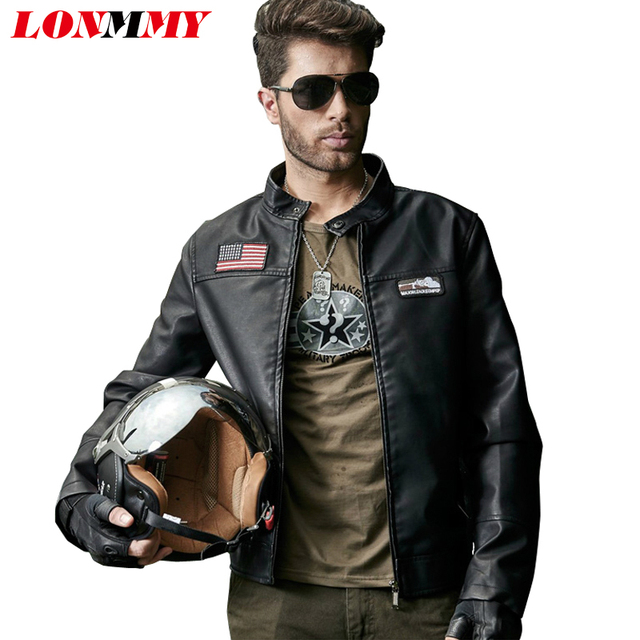 LONMMY Leather jacket men Stand collar mens jackets and coats military Slim casual coat men PU Suede male leather jacket 2016