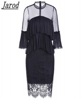 New Designer Runway Party Dress 2018 Autumn Women White Lace Patchwork Mesh Ruffles Lady Sexy Bodycon