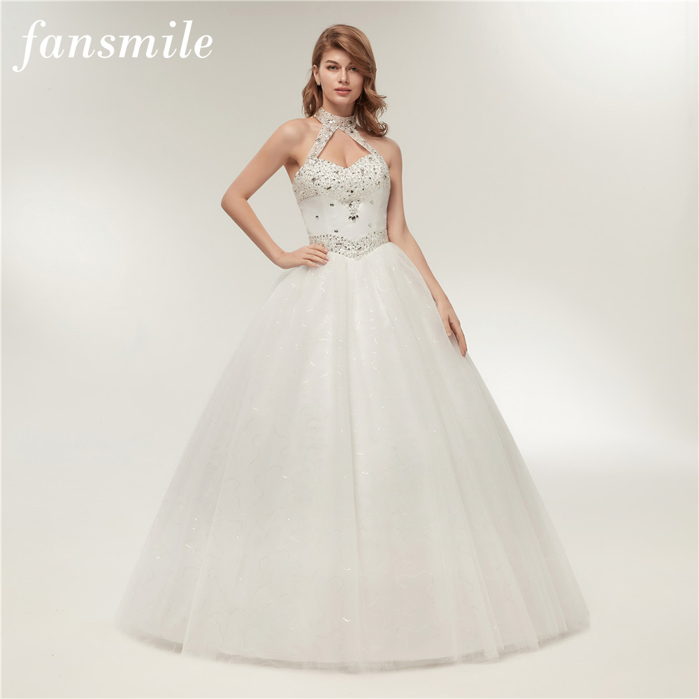 Fansmile Quality Luxury Crystal Rhinestone Ball Wedding Dresses 2019 Vestido de Novia Customized Plus Size Bridal