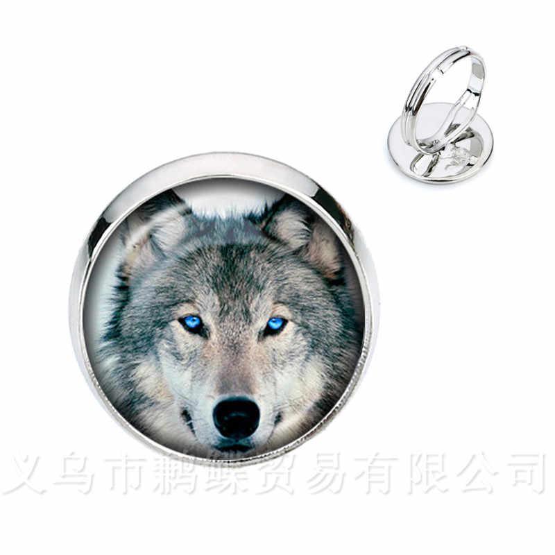 Serigala Kepala Pola Cincin Vintage Silver Golder Berlapis Logam Gesper Perhiasan Punk 16 Mm Kubah Kaca Pesona Cincin untuk wanita