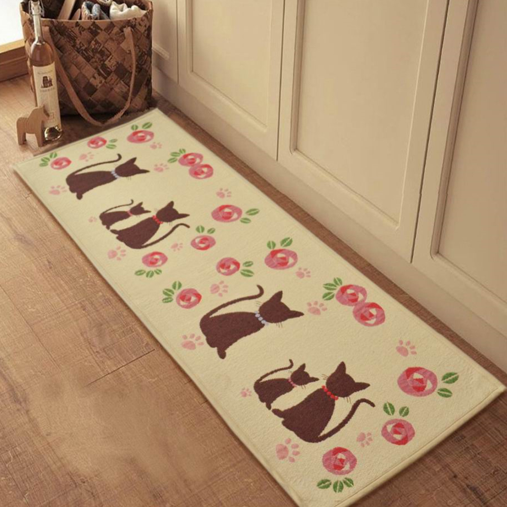 yazi Cartoon Cats Extra Long Bedroom Floor Door Bath Rug Hallway Kitchen Runner  Mat 210x50cm