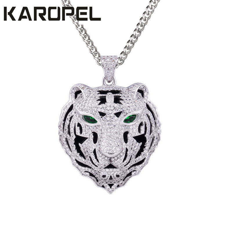 Karopel Hip Hop Bling Iced Out 24 Stainless Steel Chain Micro Pave Cz Tiger Head Pendant