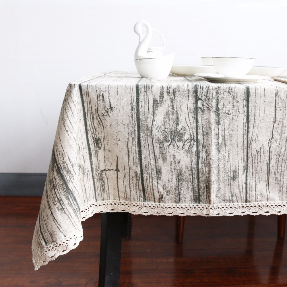 Good Aliexpress.com : Buy BeddingOutlet Vintage Wood Grain Table Cloth  Simulation Patterned Rustic Tablecloth Rectangle Table Cover With Lace  Cotton Linen From ...