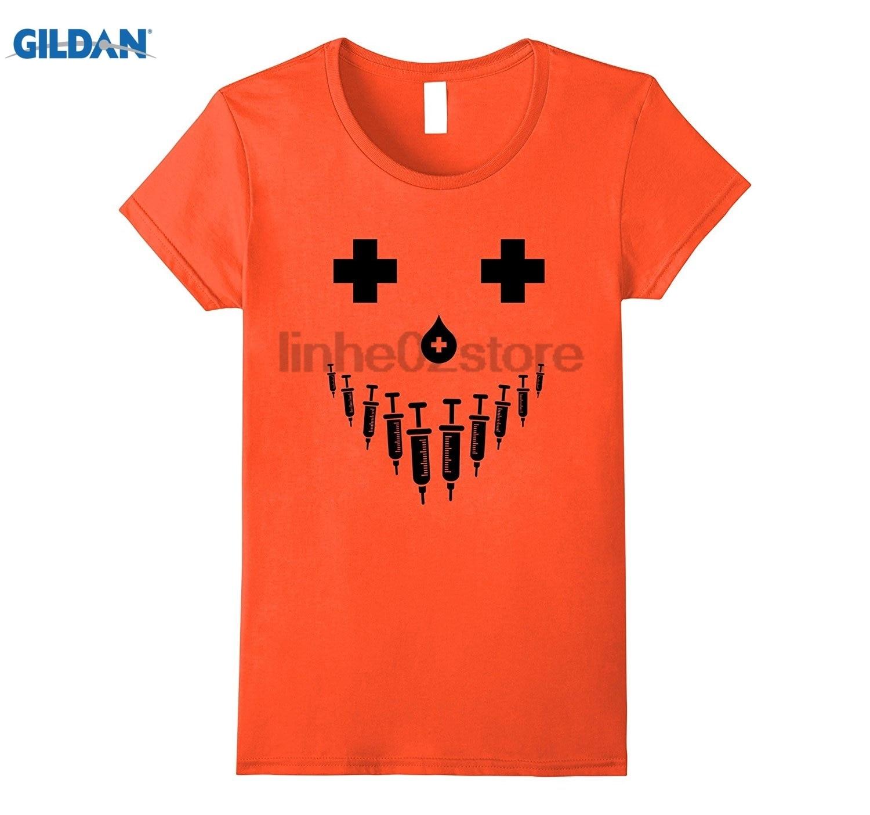 GILDAN Nurse Jack O Lantern costume t-shirt for RN, LPN & students Dress female T-shirt Hot Womens T-shirt