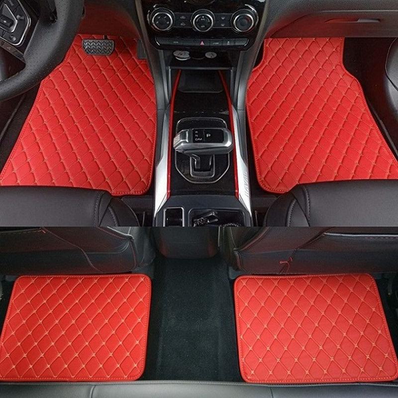 ZHAOYANHUA  4 Pcs Leather Car Floor Mats Black/Red 4 Pieces Front Rear Carpet Auto Anti Slip Mat  carpet liners|Floor Mats| |  - title=