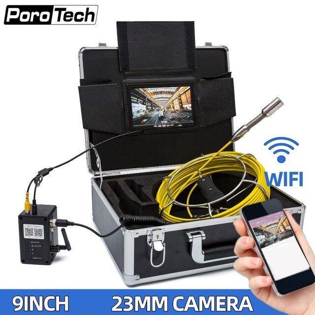 """WP90A 9 """"caméra vidéo dinspection de tuyau sans fil WiFi 20 M, support dendoscope industriel de canalisation dégout de Drain Android/IOS"""