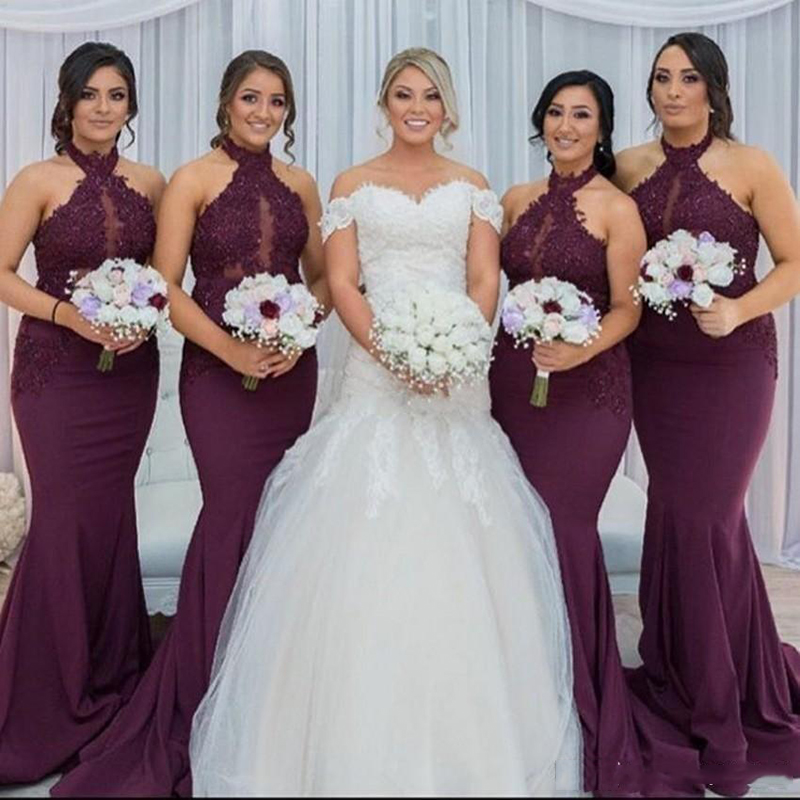 2018 Sexy Halter Mermaid   Bridesmaid     Dresses   Purple Appliques Beaded African Bridal Prom   Dress   Party Gowns Maid Of Honor   Dress