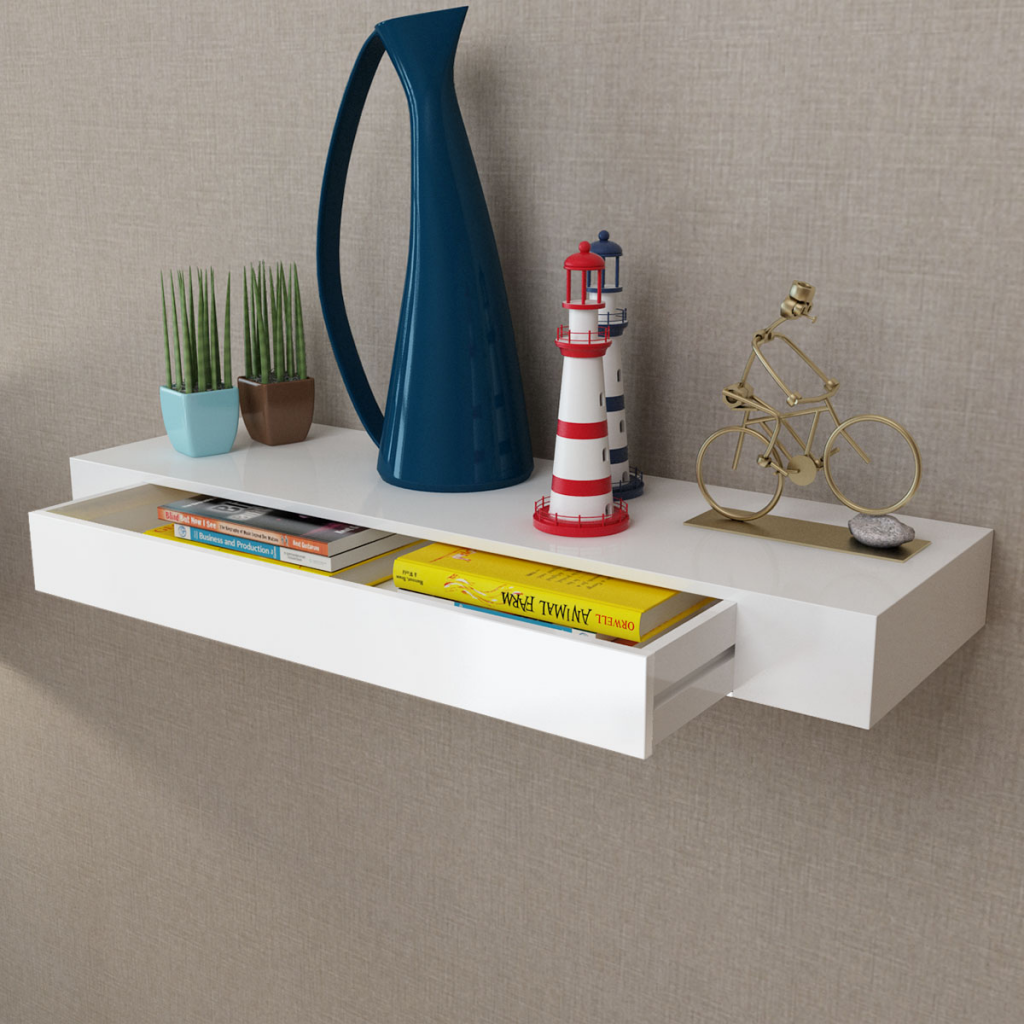 Living Room Book Storage Rack Holder White MDF Floating Wall Display Shelf 1 Drawer Book/DVD Storage Organizer ES FR Stock