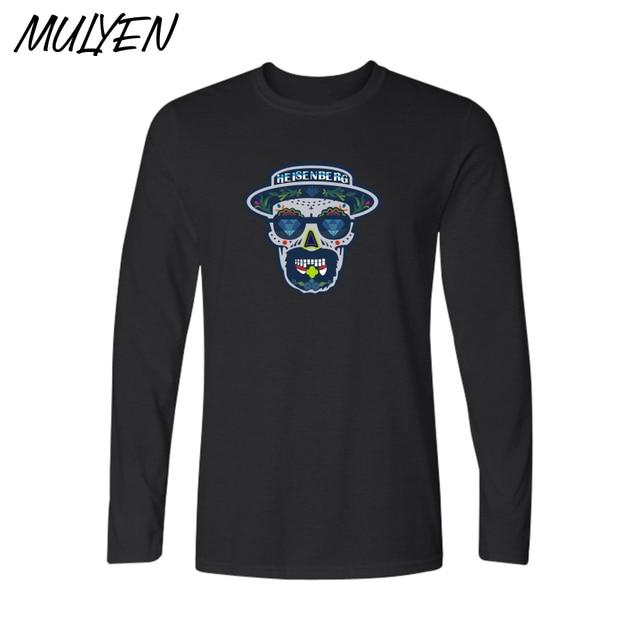 57fa844bd MULYEN Breaking Bad Heisenberg Camisa Longa Da Luva T Dos Homens Preto  marinha Cinza Outono Inverno