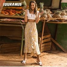 IUURANUS Long Yellow Beach Bohemian Women Skirt Split Ruffle Summer 2019 Tassel High Waist Skirts Casual Female Skirts self belt ruffle waist high split skirt