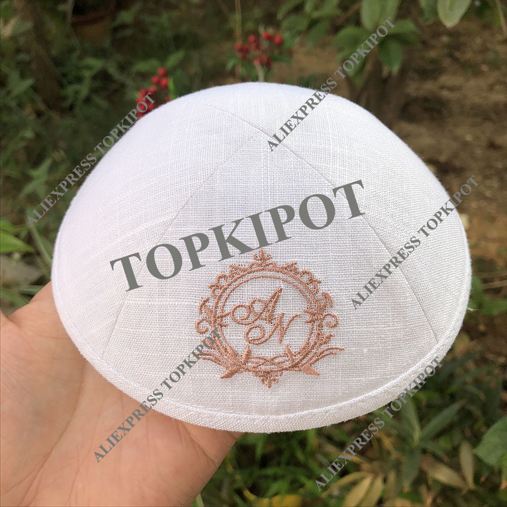 WHITE LINEN KIPOT WEDDING KIPPA