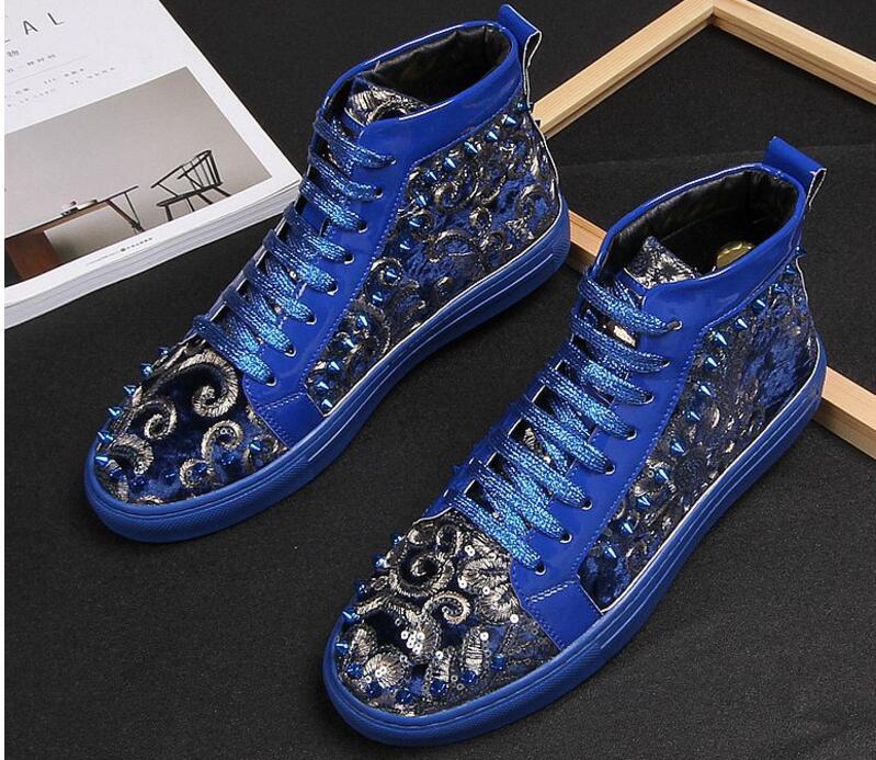 Hommes mode bottes courtes printemps automne bleu Rivets Punk chaussures hommes Hip Hop nouveauté haute qualité hommes baskets