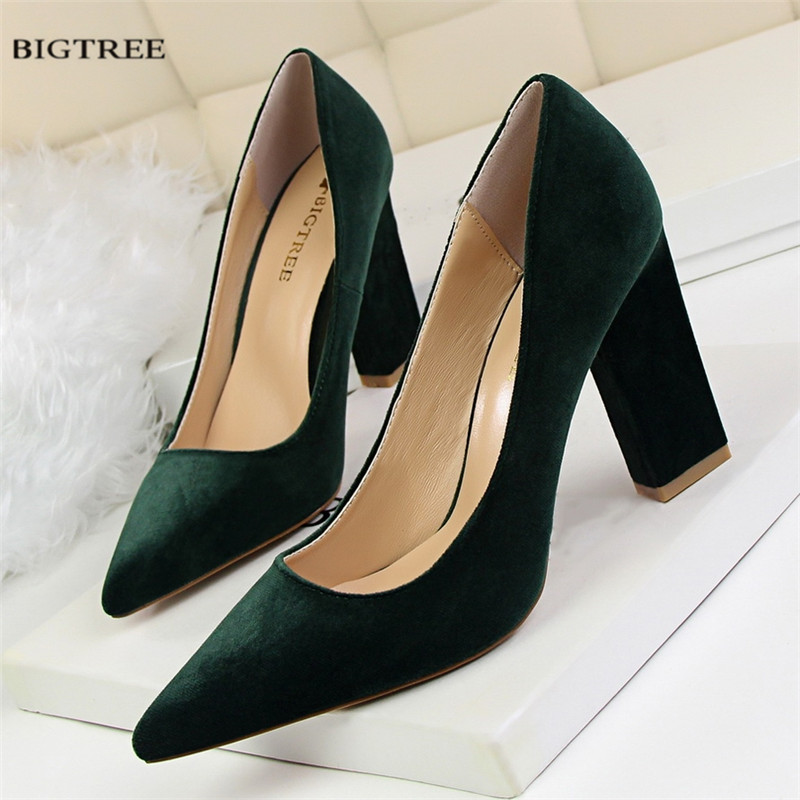 Spring Autumn Single Pumps Women Fashion Thick High Heels Shoes Shallow Pointed Sexy Suede High-heeled Shoes G5239-2 [328] women autumn fashion shoes pu skin shallow low heeled shoes with high heel pointed shoes for ol lss 888