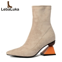 LebaLuka Women Real Leather Boots High Heels Winter Shoes Women Solid Color Pointed Toe Ankle Botas Footwear Size 34 39