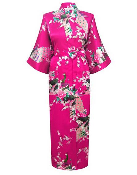 Plus Size XXXL das Mulheres Vestes De Cetim Sexy Longo Roupão de Seda Quimono Do Vintage de Três Quartos Vestido de Noite Floral