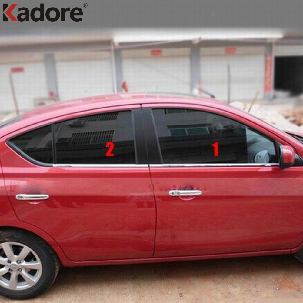 10PCS/SET Stainless Steel Car UP+Down Window Mouldings Glass Strips Exterior Decoration For Nissan Versa Sedan 2012 2013 2014 for jac refine s5 mk1 mk2 2013 2014 2015 2016 stainless steel car styling auto full window cover trim garnish strips 20pcs set