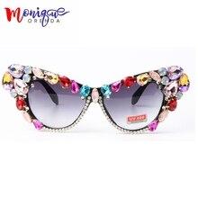 Fashion Sunglasses Oversize Cat Eye Sunglasses Women Brand Designer Luxury Colorful Crystal Sexy Sun Glasses For Ladies Oculos