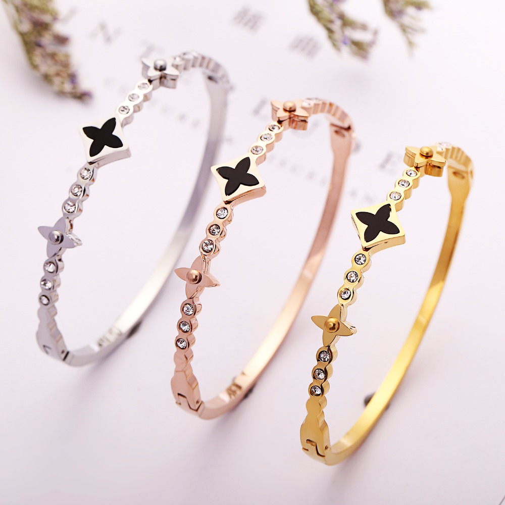 free registered Black Star Crystals office style party accessories stainless Bracelets & Bangles Luxury Lucky Lovers Women