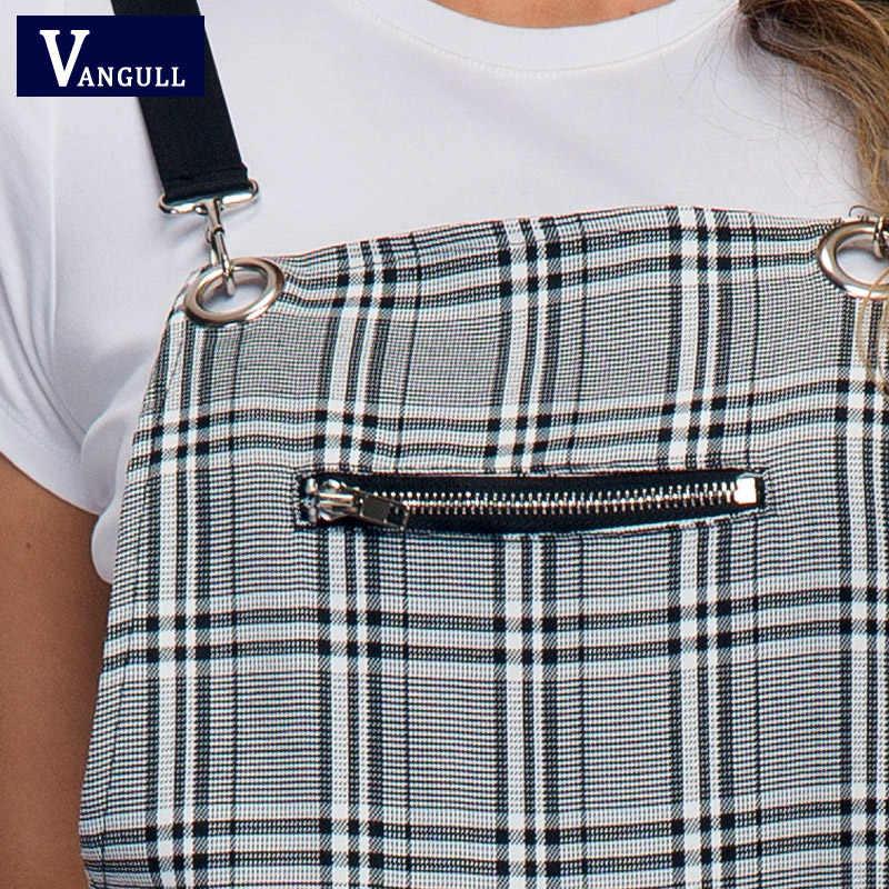Vangull Новый Клетчатый Ремень брюки женский комбинезон клетчатый принт прямой Детский комбинезон модный длинный комбинезон комбинезоны для девочек модная уличная одежда