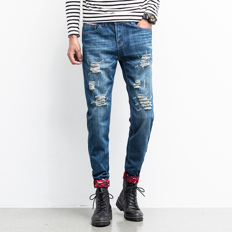 Mens Spring Autumn Blue Jeans New Fashion Men Straight Denim Jeans Men Holes long Jeans Size 38
