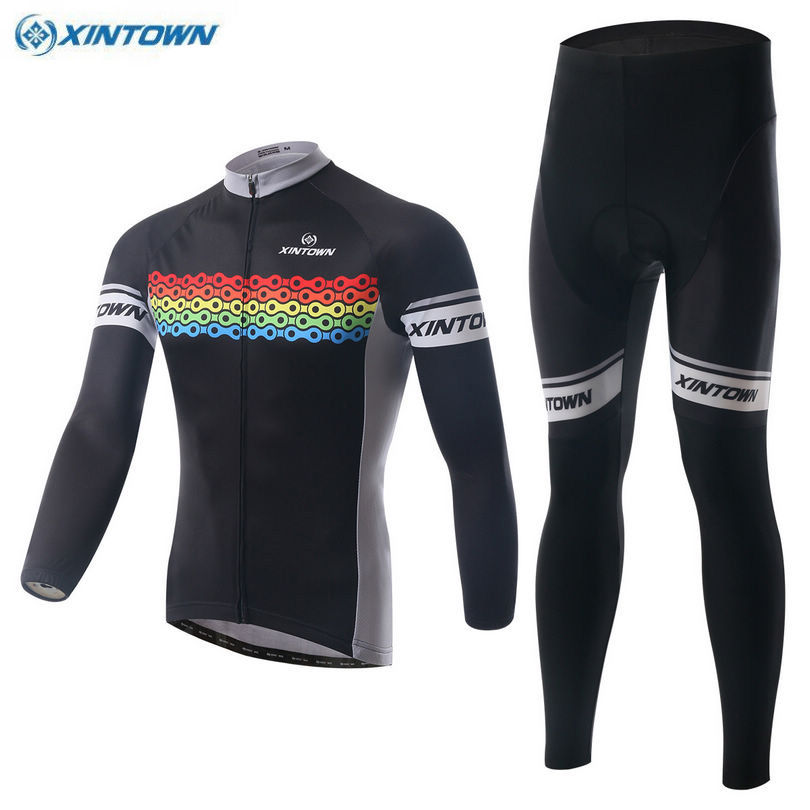 XINTOWN Men Men Bike Ropa Ciclismo Winter Team Long Sleeve Cycling Jersey Bib Pants Set Riding Black Bicycle Sportswear Sets