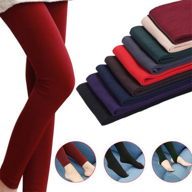 2019 Women Autumn Winter Thick Warm Legging Brushed Lining Stretch Fleece Pants Trample Feet Leggings High Elasticity Leggings