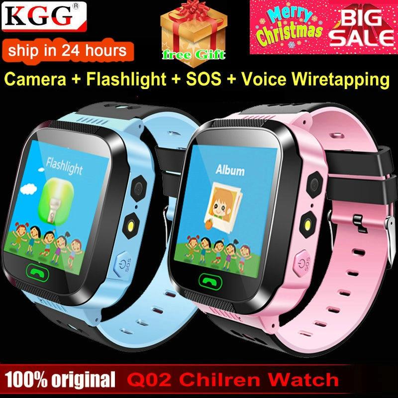 KGG Q02 bebé inteligente reloj con SOS llamada cámara de pantalla táctil iluminación teléfono posicionamiento ubicación reloj de niños para Android IOS