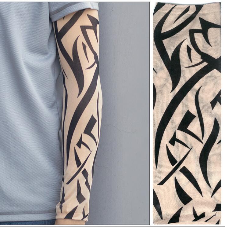 1PC Cycling Sports Tattoo Sleeves UV Cool Arm Sleeves Cycling Running Arm Warmer Sport Elastic Oversleeve Arm Warmers