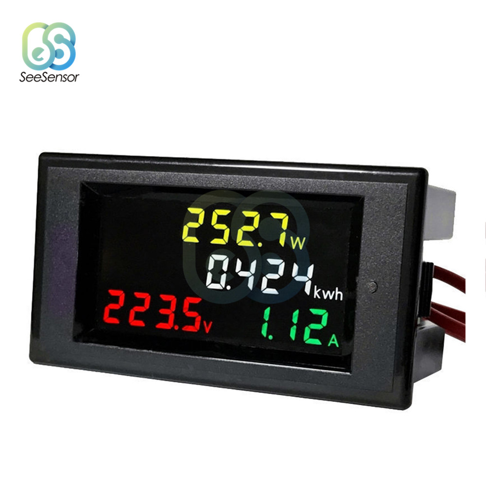 AC Voltmeter Ammeter Voltage Current Power Energy Meter Tester Detector AC 80-300V/AC 200-450V 100A HD Color Screen LED Digital