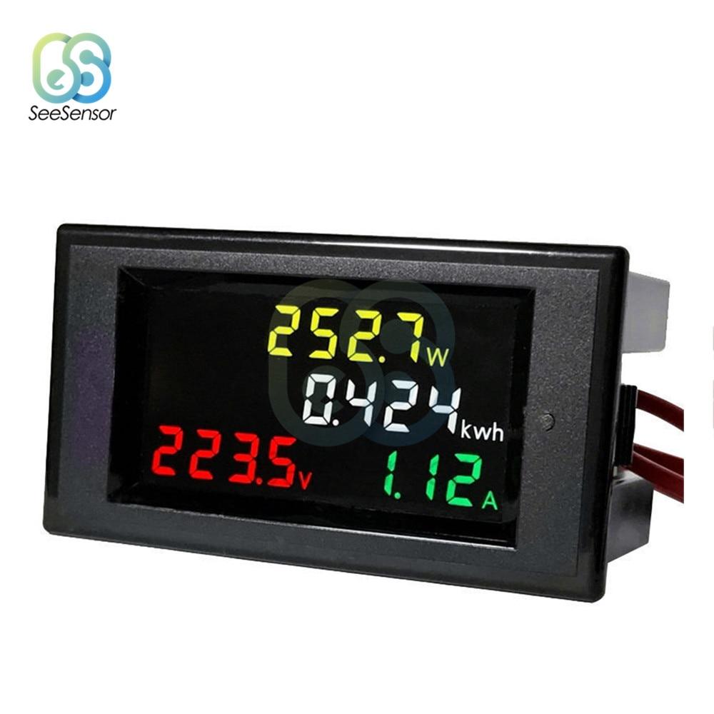 AC Voltmeter Ammeter Voltage Current Power Energy Meter Tester Detector AC 80-300V/AC 200-450V 100A HD Color Screen LED Digital