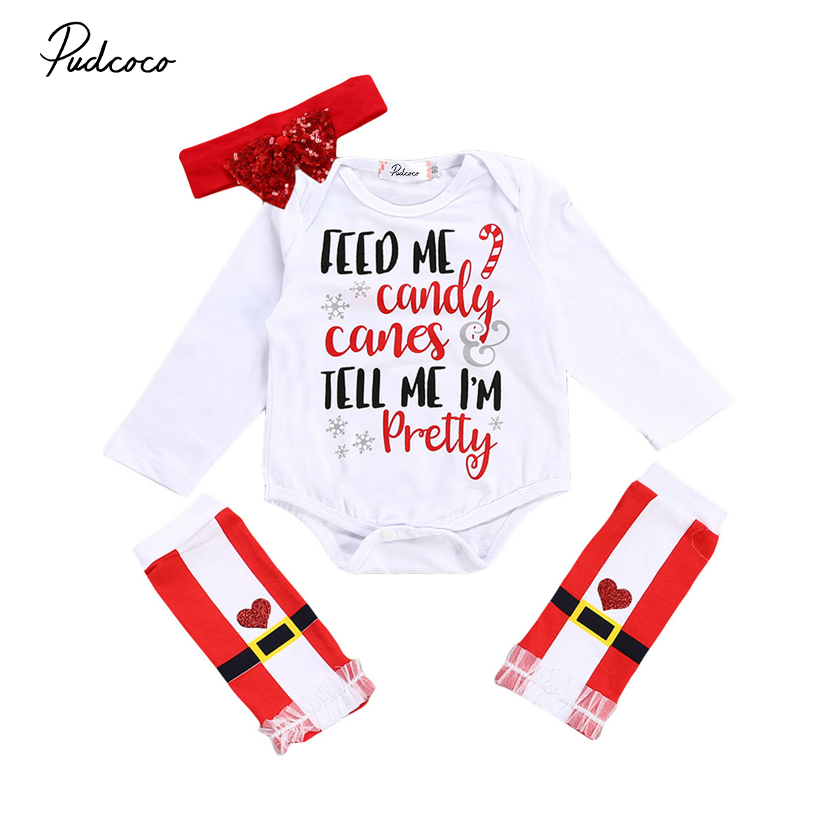 3pcs Christmas Baby Girl Romper Outfits Set Newborn Baby Girls Long Sleeve Rompers+Headband+Leg Warmers Xmas Outfit Clothes Set pink newborn infant baby girls clothes short sleeve bodysuit striped leg warmers headband 3pcs outfit bebek clothing set 0 18m