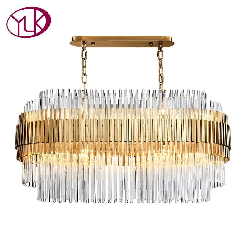 Youlaike Modern Crystal Chandelier Rectangle Design Gold Chandeliers Lighting Luxury Dining Room Hanging Cristal Lustre In From Lights