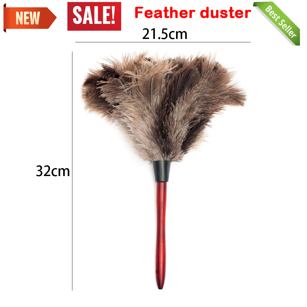 32cm Ostrich Natural Feather Duster Brush Wood Handle Anti-static Cleaning Tool Household Furniturer Car Dust Cleaner(China)