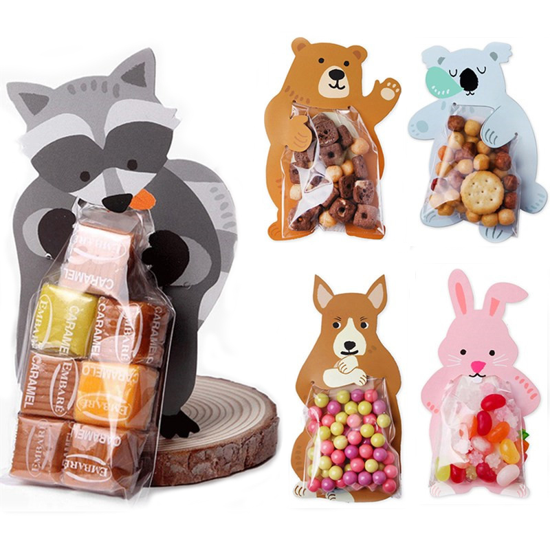 10sets Cartoon Animal Plastic Candy Bag Bear Rabbit Candy Packaging Transparent Gift Bag Kids Baby Shower Wedding Decoration