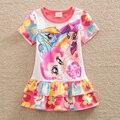 Nueva ma bao li chica impresión del vestido del verano vestido de los niños ropa de cuello redondo de algodón de manga corta sweet cake envío gratis sd668