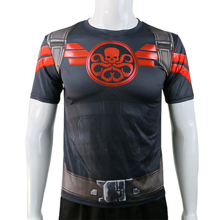 Cosplaydiy Superher Agents of SHIELD Captain America HYDRA T-shirt quick drying Costume Top Tee Men Printing Cosplay Clothing J1