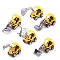 Envío Gratis 6 unids/lote Modelos de Camiones de Juguete de Color Amarillo Mini Juguetes de Camiones de Construcción Para Niños juguete