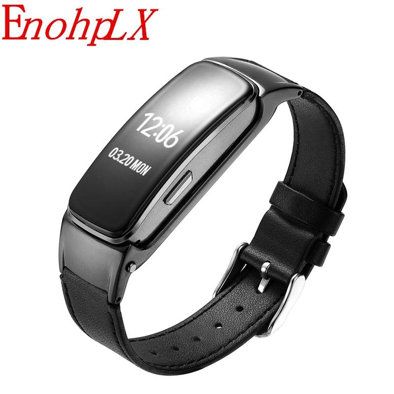 EnohpLX 2018 Smart Bluetooth Headphone Smart band Blood Pressure Answer and Dail Call Smart Call Bracelet B3 Plus