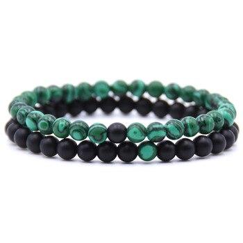 2pcs/set Natural Stone Mixing beads Bracelet men