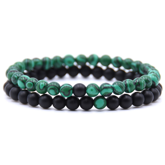 HONEYYIYI 2pcs/set Natural Stone Mixing beads Bracelet men Bracelets & Bangles J