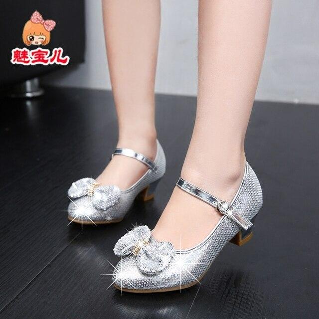 746f067c Los niños zapatos de cuero princesa Zapatos Niños moda agua cristal niña  rendimiento tacones altos solos