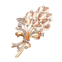 New Opal Rhinestone Brooches for Women Vintage Fashion Female Jewelry Gold Color Flower Brooch Broches Pins Mujer