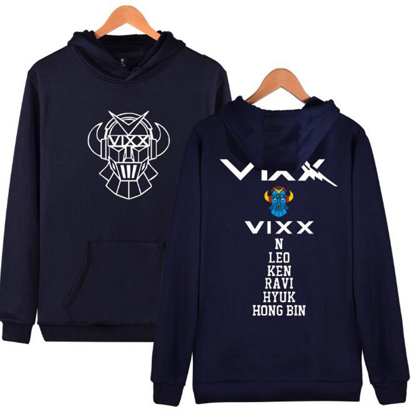 KPOP VIXX Hoodies Women Men Harajuku Sweatshirt K-POP N HONGBIN LEO RAVI HYUK KEN Long Sleeve Fleece Hooded Pullovers Plus Size