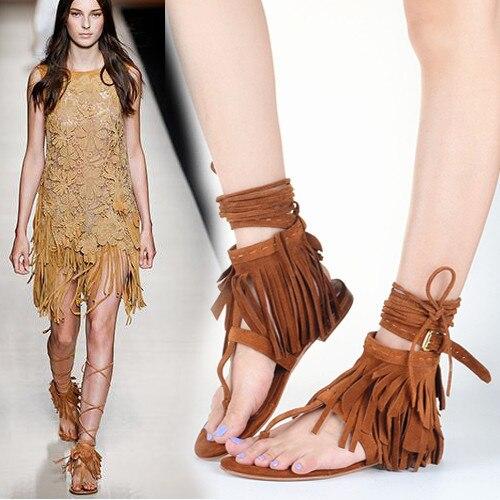 0003856595bbe8 Sexy Flip Flop Sandals Flat Heels Shoes Women Celebrity Summer Sandalias  Plataforma Tassel Lace Up Suede Fringe Sandals
