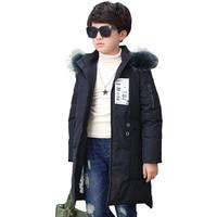 Cotton Long Coat Kids Boys Jacket Padded Jacket Children Fashion Cap Autumn Boys Parka Winter European Army Green black red